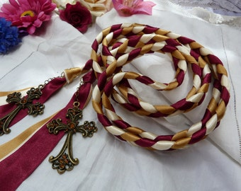 Wedding cord- burgundy, gold, ivory - with vintage style bronze jewelled celtic cross charms
