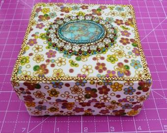 Cream handmade beaded trinket box
