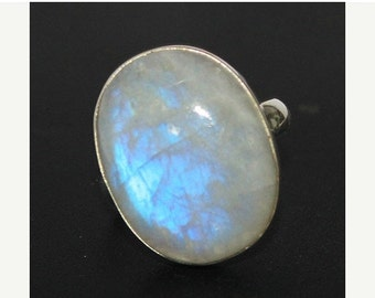 VALENTINE SALE 55% Rainbow Moonstone Sterling Silver Ring 1283RG
