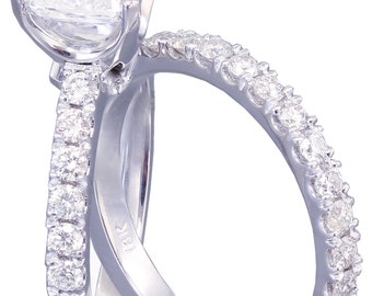 GIA G-VS2 18k White Gold Cushion Cut Diamond Engagement And Band Novo 1.68ct