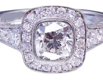 18k white gold cushion diamond engagement ring bezel set 1.80ct G-VS2 EGL USA