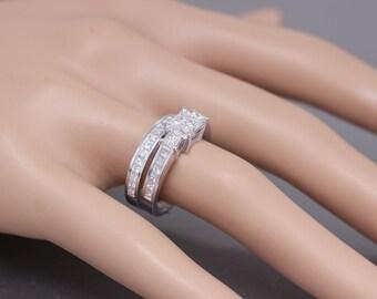 14k white gold princess cut diamond engagement ring and band 2.00ctw F-VS2 EGL USA