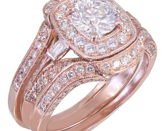 14k Rose Gold Round Cut Diamond Engagement Ring And Bands Halo Filigree 2.70ctw