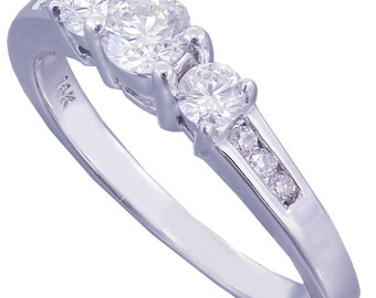 14k White Gold Round Cut Diamond Engagement Ring Prong Set 0.42ctw