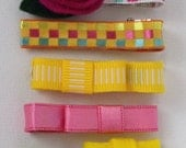 Marikit Designs Set of 7 hair clips. Assorted hair clips.  Pink yellow green. RTS