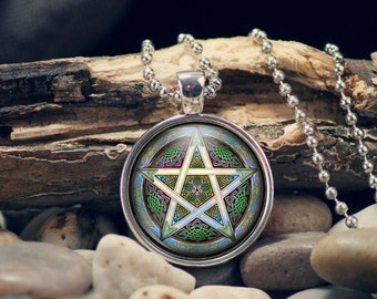 Wiccan Pendant, Wicca Jewelry, Gift for Her, Pentagram Necklace