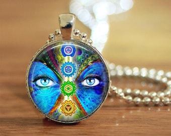 Chakra Pendant, Chakra Necklace, Chakra Jewelry, New Age Gift, Metaphysical, Innerstrength, Meditation, Pagan, Gift for her, Chakra Keyring