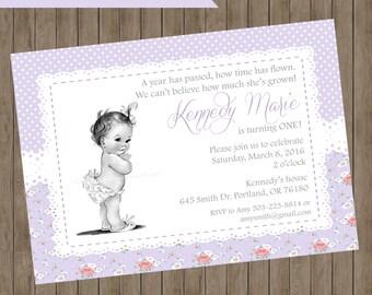 First Birthday Invitation girl birthday party invitation purple Lavender lace retro