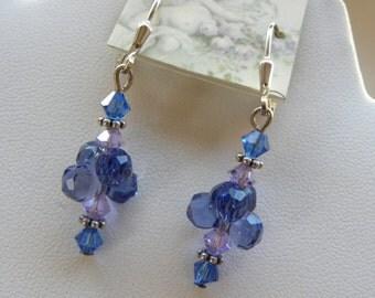 Sapphire Blue Swarovski Crystal Cluster Earrings Lilac Purple Sterling Silver Genuine Swarovski
