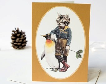 Seasonal card of a tabby cat with his penguin friend. Christmas card. Greeting note card. Cat lover art. Victorian Christmas