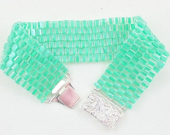 Mint Green Beaded Peyote Bracelet, Handmade Bead Woven Cuff Bracelet with Silver Clasp, Unique Pastel Fashion Bracelet for all Seasons