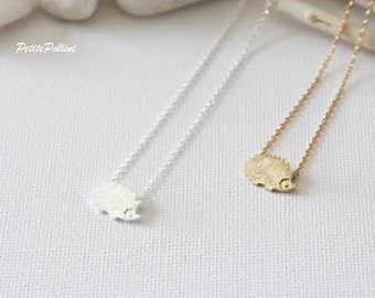 Hedgehog Necklace in Silver/ Gold. Collarbone Necklace. Layering Necklace. Woodland. Birthday Gift. Sweet 16. Gift For Her  (PNL-119)