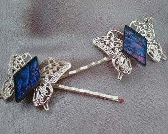 Hair pins Bobby pins butterfly van gogh stained glass Brockus Creations