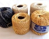 Crochet Thread –  Metallic Gold, Cream, White and Black– Destash - Set of 5