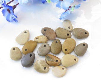Top Drilled Beach Pebbles 17 pcs, Jewelry Pendants, Small Beach Stones, Eco Friendly Beads,Design ideas, Crafts, Necklace DIY
