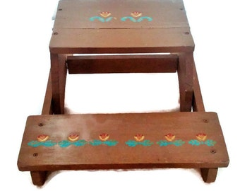 Child's Vintage Handmade Folding Chair Step Stool