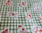Mabel Lucie Attwell Adorable Fabric with Puppies and Green Gingham Style One Yard Cotton Fabric Sewing or Crafts or Quilting