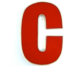 Vintage Salvage Letter C, Initial, Wedding Decor, Red Channel Marquis Advertising, Industrial Sign, Patio Party