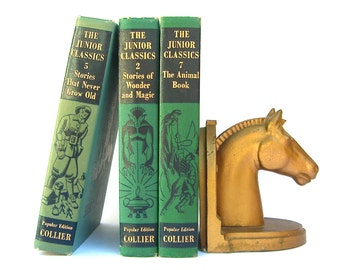 Horse Head Bookend, Gold Finish, Library Prop Display, Equestrian Thoroughbred Racing, Horseshoe, Heavy Metal