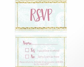 RSVP  card customised for your wedding