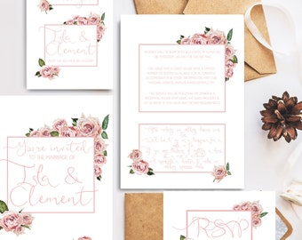Wedding stationary package - custom invitation, save the date, thank you card & RSVP printables personalised for your event