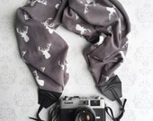 Scarf Camera Strap, Extra Long, Soft, DSLR Camera Strap, Extra Long, Nikon, Canon, DSLR Photography, Wedding Photographer- Gray Knit Antlers