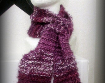 Scarf - blue scarf - hand knit scarf - knit scarf - purple knit scarf - wool knit scarf - soft raspberry - fashion knit scarf - ruffle scarf