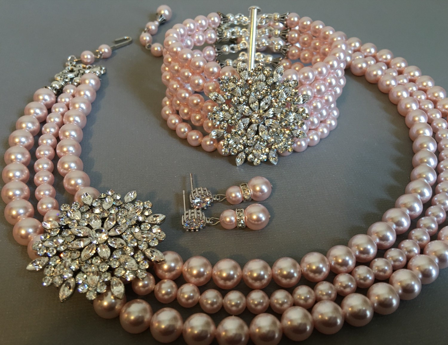 Complete bridal jewelry set blush pink pearl necklace bracelet for Pink wedding jewelry sets