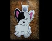 Clearance French Bulldog Embroidered Key Fob, Key Chain, Luggage Tag, Bag Clip, Vinyl, Key Ring, Purse Charm