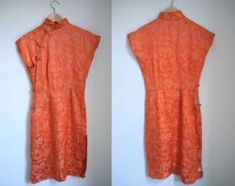 SALE (was 74) 1940s Orange Cheongsam Dress