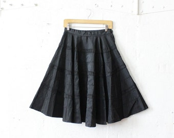 50s Black Circle Skirt S/M • Black Taffeta Skirt • Fit and Flare Knee Length Skirt • Midi Ribbon Skirt | SK440
