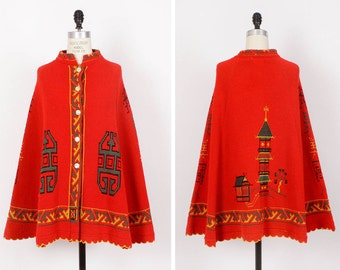 70s Pagoda Poncho • Red and Green Poncho • Asian Inspired Acrylic Knit Cape • Bright Hippie Poncho  | O200