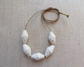 Faceted Porcelain Bead Necklace