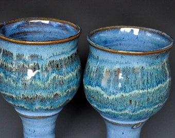 His and Her Goblets Pair of Pottery Goblets Blue Wine Goblet Stoneware Chalice Ceramic Cup AA