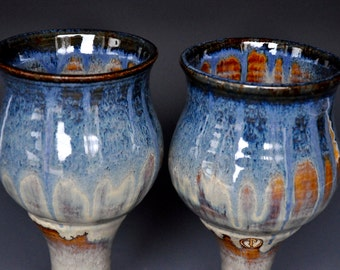 His and Her Goblets Pair of Pottery Goblets Blue Ceramic Wine Goblet Stoneware Chalice CC