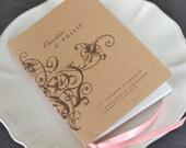 Floral Swirl Order of Service Wedding Program / Modern Vintage Wedding / Elegant Pocket-sized Booklet Kraft Card Satin Ribbon / ONE SAMPLE