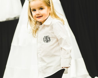 Monogrammed flower girl shirt, child's monogrammed button down shirt, bridal party, wedding day flower girl getting ready shirt.