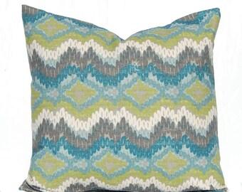 Chevron Pillow Cover - Euro Sham - Decorative Pillow Covers - One 22 x 22 Throw Pillow Cover - Pillow Sham -  Turquoise Pillow Covers