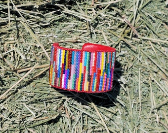 Bright & Colorful on-loom beaded cuff Bracelet