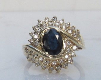 Vintage Diamond Double Halo and Blue Sapphire Ring Set in 14k Solid Yellow Gold over 2 Carats Total Gem Weight, SIze 7