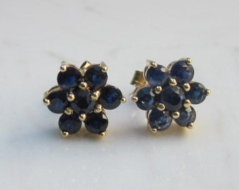 Vintage Sapphire and 14k Solid Yellow Gold Flower Halo Stud Pierced Earrings - 2.50 Carats Total Gem Weight