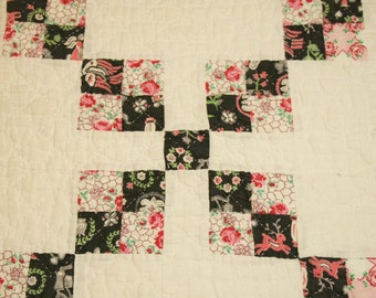 Sweet Pink, Black and Cream Postage Stamp Vintage Quilt Piece - Wonderful Quilting and Fabrics - 26 by 22 Inches