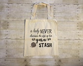 A Lady Never Discusses The Size Of Her Yarn Stash Market Tote Bag