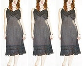 Vintage Black Slip With Inset Sheer Lace and Pleated Trim Sz L
