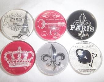 Paris Theme Glass Stone Magnet / Teacher Gift / Paris Magnets / Set of Six Glass Magnets / Housewarming Gift / Birthday Gift / Fridge Magnet