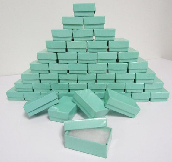 100 Pack - Teal Blue (2.5 x 1.5 x 1 in.) Cotton Filled Boxes
