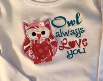 Embroidered Applique Owl with saying Owl always love you