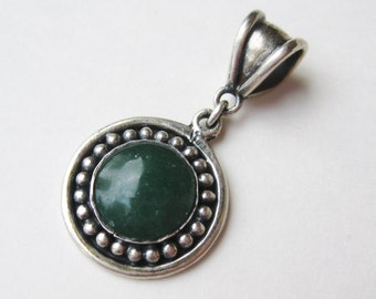Vintage Emerald Green Chrysoprase 950 Sterling Silver Necklace Pendant