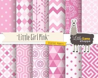 Pink Digital Paper Pack, Little Girl Digital Scrapbook Paper, Baby Girl Pink Digital Paper, Geometric Patterns, Commercial Use