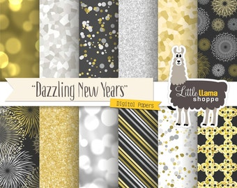 New Year's Digital Paper, Dazzling Bling Bokeh Glitter Fireworks Backgrounds, New Year's Eve Silver & Gold, Commercial Use